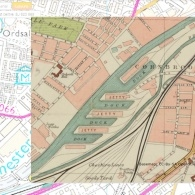A map dating from 1900 of Pomona Island, Manchester superimposed over a modern map