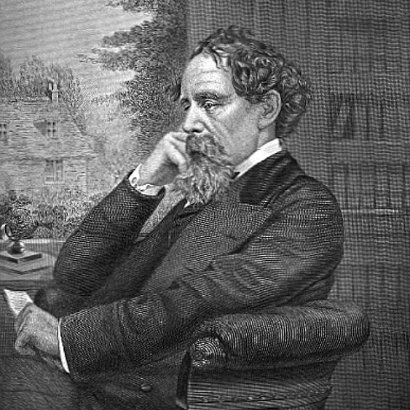 Black and white print of Charles Dickens