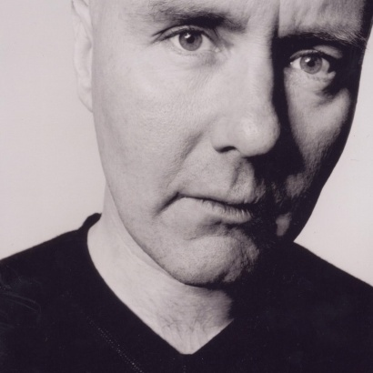 black and white close up of Irvine Welsh