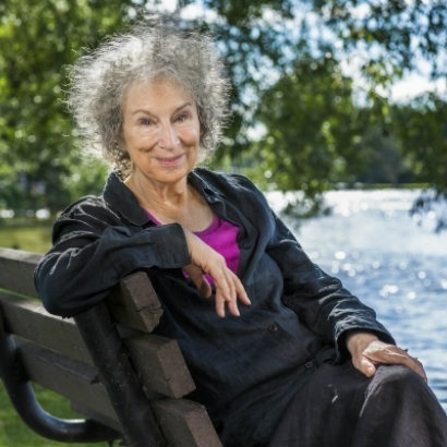 Image of Margaret Atwood sitting on park bench