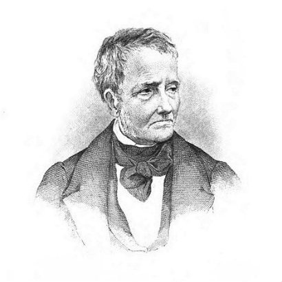 Black and white sketch drawing of Thomas de Quincey