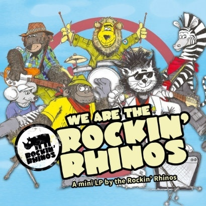 Drawn image of the Rockin' Rhinos - a group of different animals playing guitars, keyboards and drums
