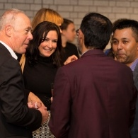 Guests & sponsors mingling at Margaret Atwood drinks reception