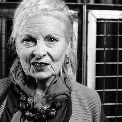 Moody black and white photo of Vivienne Westwood at MLF 2016