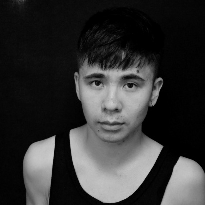 Young Vietnamese American poet Ocean Vuong in black and white