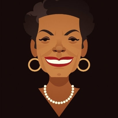 Stanley Chow illustration of Maya Angelou wearing gold hoop earings