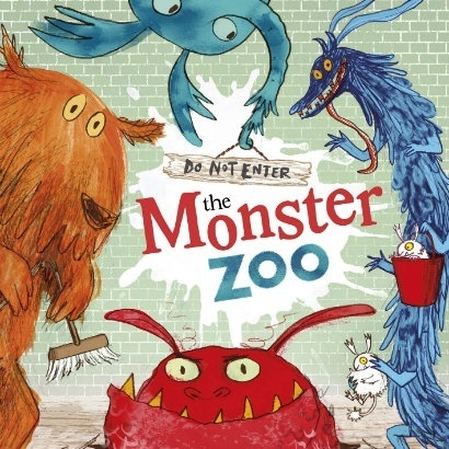 Illustration from the front cover of Do Not Enter the Monster Zoo with several friendly-looking monsters peeping around the edge of the picture