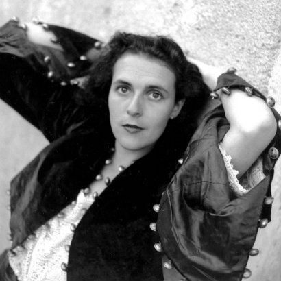 Black and white image of Leonora Carrington, taken from Joanna Moorhead's book cover