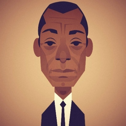 Illustration of James Baldwin in suit and tie
