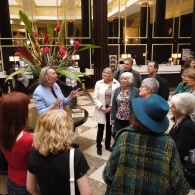 Barbara Frost leads guests on tour of Midland hotel