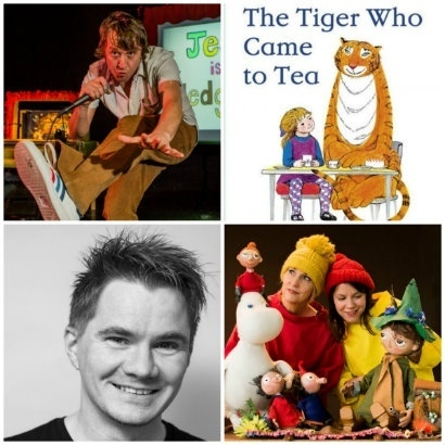 Collage of photos showing those involved in Family Reading Day including author Steve Anthony, comedian Kid Carpet, Get Lost and Found with Moomin puppets and the cover illustration from The Tiger who Came to Tea