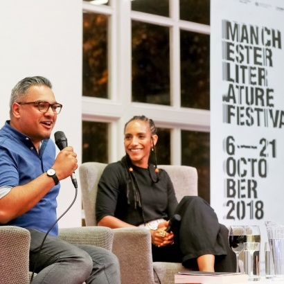 Photo of Nikesh Shukla interviewing Afua Hirsch