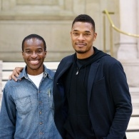 Head and shoudlers image fo poet Terrance Hayes with host adn fellow poet Kayo Chingonyi at MLF 18