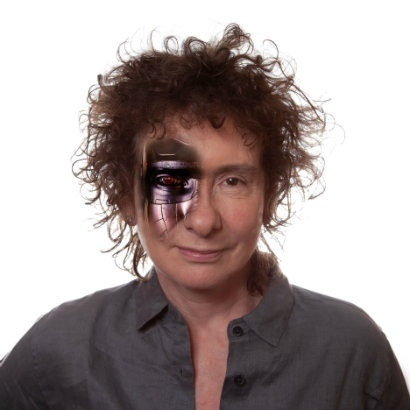 Headshot of author Jeanette Winterson with artificial eye
