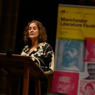Picture of Gillian Slovo delivering the 2019 Castlefield Manchester Sermon.