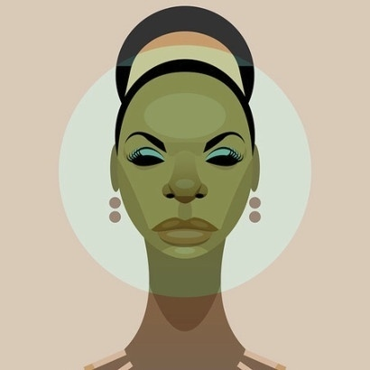Stanley Chow illustration of songwriter and performer Nina Simone