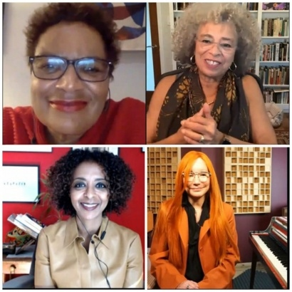 Collage of Angela Davis, Jackie Kay, Tori Amos and Maaza Mengiste