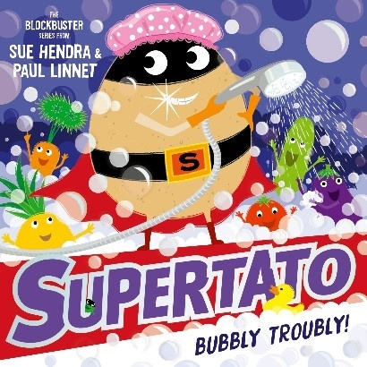 Cartoon image of Supertato character in bubbles