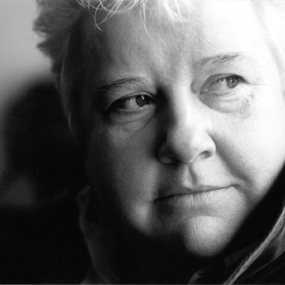 Crime writer Val McDermid looking like one of her protagonists in moody monochrome.