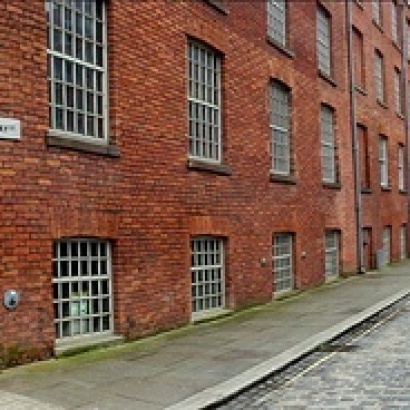 View of a factory clad street in Ancoats
